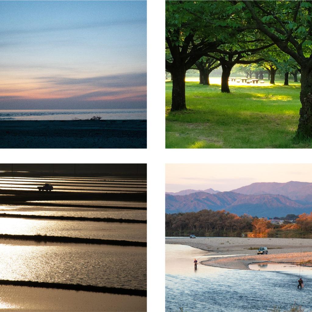 村上市の瀬波海水浴場海岸の夕日や田んぼ、三面川の鮭釣りや中州公園の緑の様子
